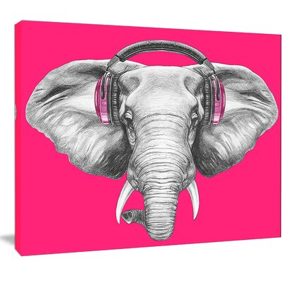 'Elephant with Headphones' Graphic Art on Wrapped Canvas PT13208-20-12