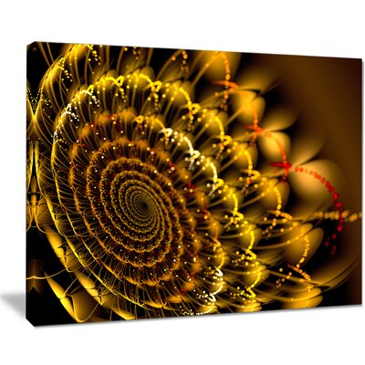 "'Golden Abstract Spiral Flower' Graphic Art on Wrapped Canvas Size: 12"" H x 20"" W PT13152-20-12"