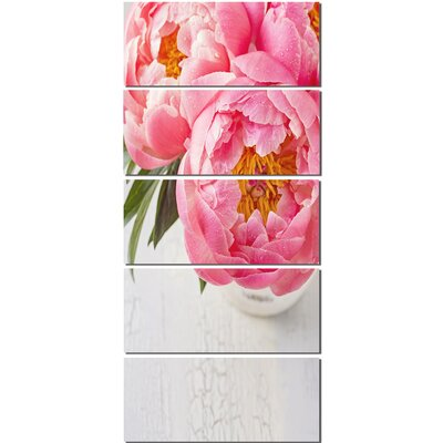 'Full Bloom Pink Peony Flowers' 5 Piece Photographic Print on Canvas Set MT14184-401V