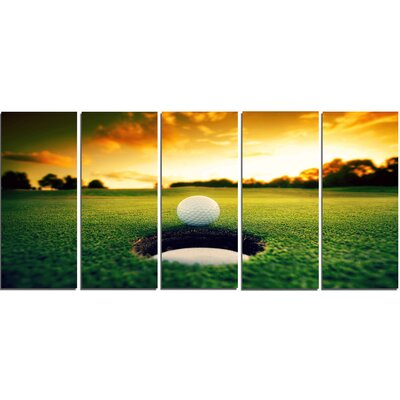 'Golf Ball Near Hole' 5 Piece Photographic Print on Wrapped Canvas Set PT14848-401
