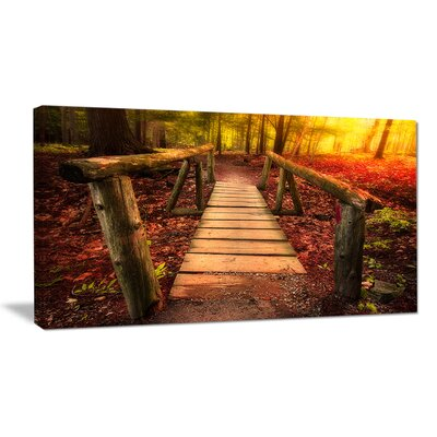 "'Beautiful Footbridge in Golden Light' Graphic Art on Wrapped Canvas Size: 28"" H x 60"" W PT14787-60-28"