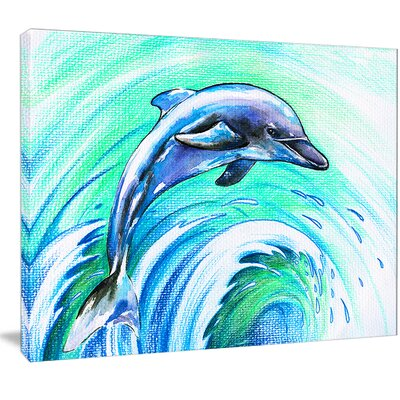 'Jumping Dolphin Watercolor' Painting Print on Wrapped Canvas PT13327-20-12