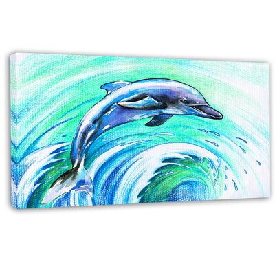 'Jumping Dolphin Watercolor' Painting Print on Wrapped Canvas PT13327-32-16