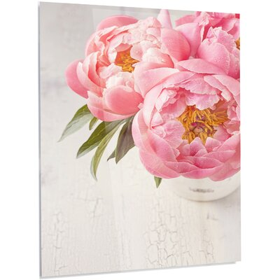 'Peony Flowers in Vase' LED Photographic Print on Metal MT14195-40-48-LED