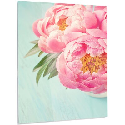 'Peony Flowers on Blue Background' Photographic Print on Metal MT14198-12-28