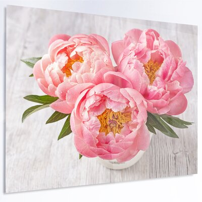 'Peony Flowers on White Floor' Photographic Print on Metal MT14212-28-12