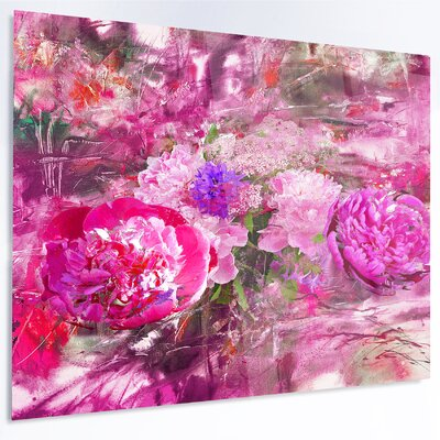 'Pink Peonies Abstract Background' Painting Print on Metal MT14964-28-12