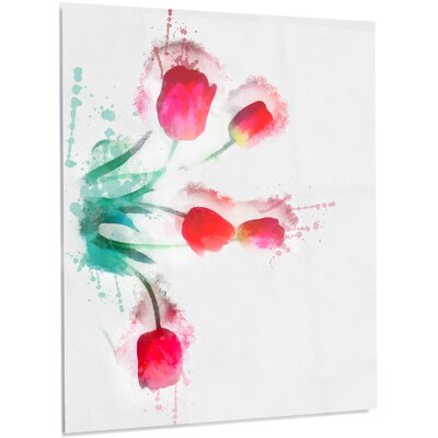 'Bunch of Red Tulips Watercolor' Painting Print on Metal MT13634-40-48-LED