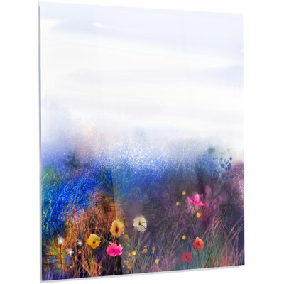 'Watercolor Painting Flower in Meadow' Painting Print on Metal MT14092-40-48