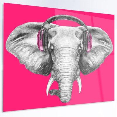 'Elephant with Headphones' Graphic Art on Metal MT13208-28-12