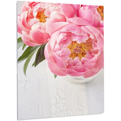 Floral 'Full Bloom Pink Peony Flowers' Photographic Print on Metal MT14184-40-48-LED