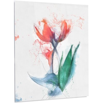 Floral 'Red Tulips' Painting on Metal MT13656-12-28