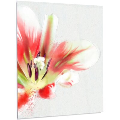 'Large Watercolor Red Tulip Flower' Painting Print on Metal MT13579-40-48-LED