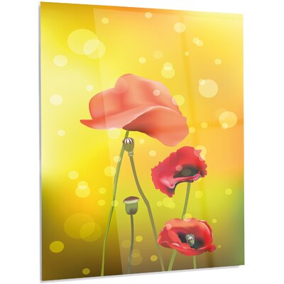 'Red Flowers on Yellow Background' Graphic Art on Metal MT13743-40-48-LED