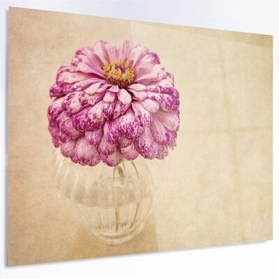 'Pink Flower in Vase Watercolor' Painting Print on Metal MT14190-28-12