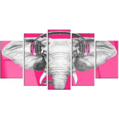 'Elephant with Headphones' 5 Piece Graphic Art on Canvas Set MT13208-373