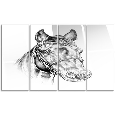 'Freehand Horse Head Pencil Drawing' 4 Piece Graphic Art on Canvas Set MT14928-271