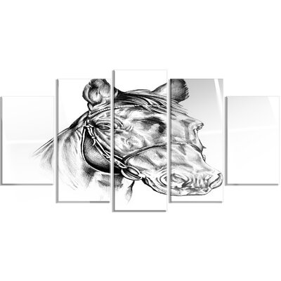 'Freehand Horse Head Pencil Drawing' 5 Piece Graphic Art on Canvas Set MT14928-373
