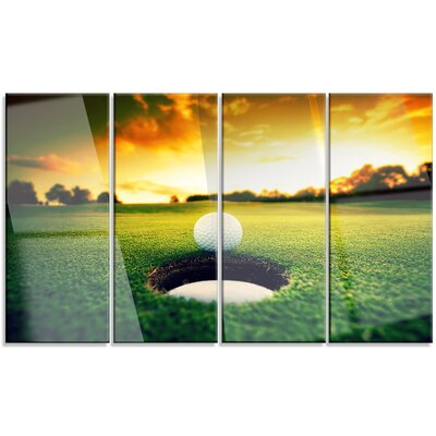 'Golf Ball Near Hole' 4 Piece Photographic Print on Canvas Set MT14848-271