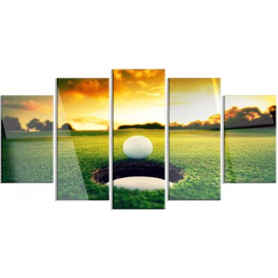 'Golf Ball Near Hole' 5 Piece Photographic Print on Canvas Set MT14848-373