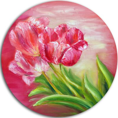 'Red Tulips in Red Background' Painting Print on Metal MT6284-C11