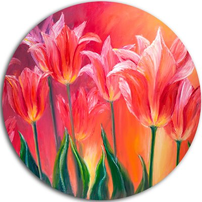 'Tulips in Red Shade' Painting Print on Metal MT6296-C23