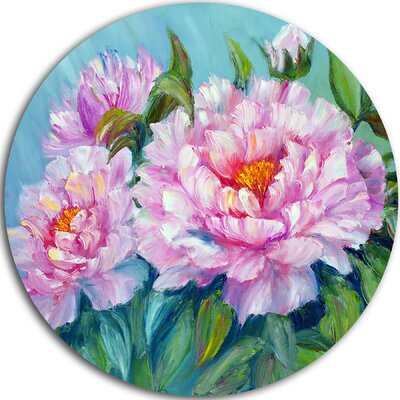 'Pink Peonies' Painting Print on Metal MT6301-C23
