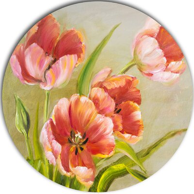 'Vintage Red Tulips' Painting Print on Metal MT6334-C23