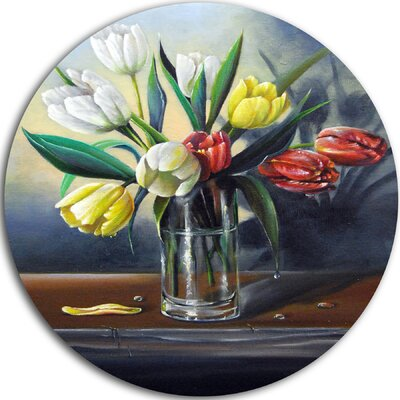 'Red White Yellow Tulips' Painting Print on Metal MT7656-C11