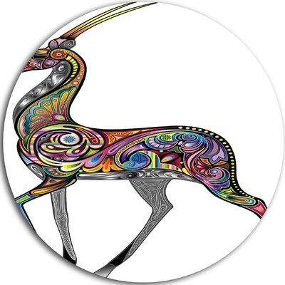 'Colourful Antelope' Graphic Art Print on Metal MT7953-C11
