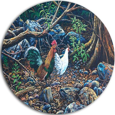 'Jungle Fowl in Forest' Graphic Art Print on Metal MT8542-C38