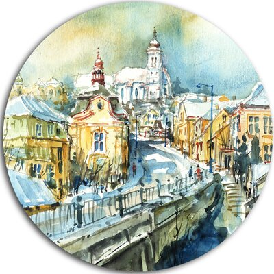 'City of Churches Watercolor' Oil Painting Print on Metal MT8587-C38
