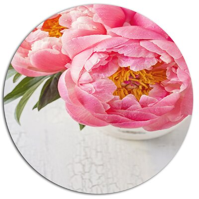 'Full Bloom Pink Peony Flowers' Oil Painting Print on Metal MT14184-C38
