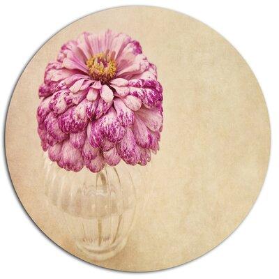 'Pink Flower in Vase Watercolor' Painting Print on Metal MT14190-C11