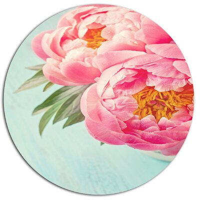 'Peony Flowers on Blue Background' Photographic Print on Metal MT14198-C11