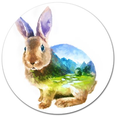 'Rabbit Double Exposure Illustration' Photographic Print on Metal MT14519-C11