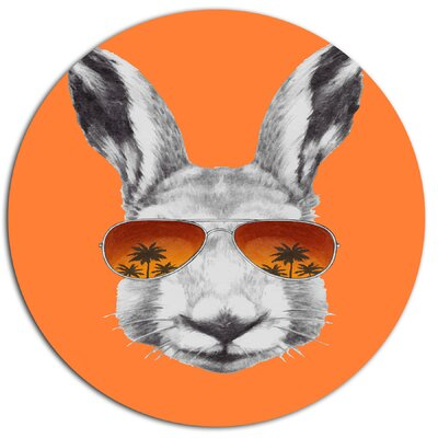 'Funny Rabbit with Sunglasses' Graphic Art Print on Metal MT13187-C11