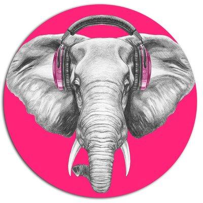 'Elephant with Headphones' Graphic Art Print on Metal MT13208-C11