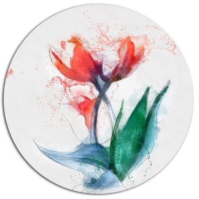 'Red Hand-Drawn Tulips Sketch' Oil Painting Print on Metal MT13656-C11