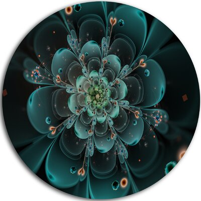 "Full Bloom Fractal Flower in Blue"" Graphic Art Print on Metal MT10338-C11"