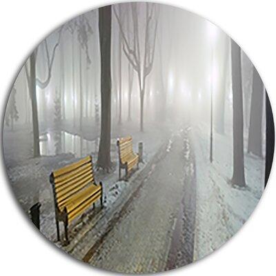"'Yellow Seats in Mariinsky Garden' Photographic Print on Metal Size: 11"" H x 11"" W x 1"" D MT9169-C11"