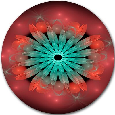 Floral 'Fractal Blooming Blue Red Flower' Graphic Art on Metal MT9246-C23