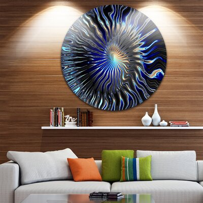 'Blue Rays from the Circle' Graphic Art Print on Metal MT9667-C11