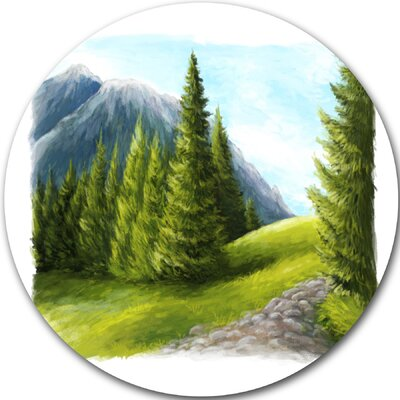 'Road in Green Mountains' Graphic Art Print on Metal MT11169-C11