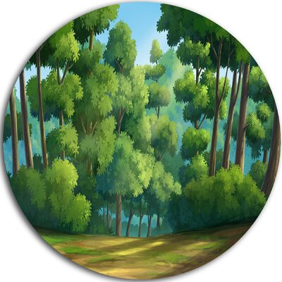 'Green Jungle with Dense Trees' Graphic Art Print on Metal MT11410-C11