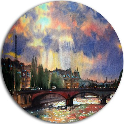 'Fabulous Paris City Watercolor' Oil Painting Print on Metal MT11683-C23