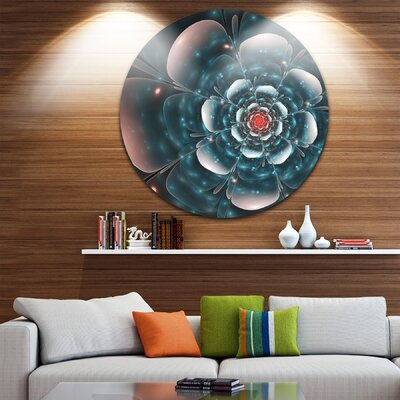 'Full Bloom Blue Fractal Flower' Graphic Art Print on Metal MT11904-C23