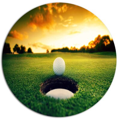 'Golf Ball Near Hole' Photographic Print on Metal MT14848-C11