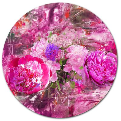 'Pink Peonies Abstract Background' Oil Painting Print on Metal MT14964-C11