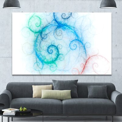 'Beautiful Blue Fractal Pattern' Graphic Art on Wrapped Canvas PT15837-60-40